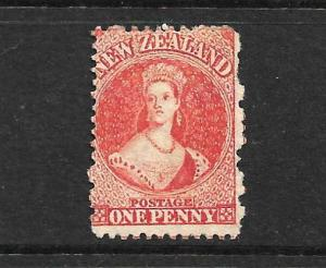 NEW ZEALAND 1864-67 1dCARMINE VERMILLION  FFQ  MNG P12 1/2 CP A1M1  SG110 CHALON