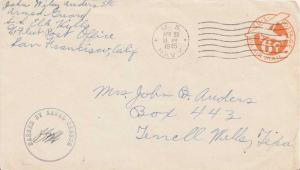 United States Fleet Post Office 6c Monoplane Air Envelope 1945 U.S. Navy, S.S...