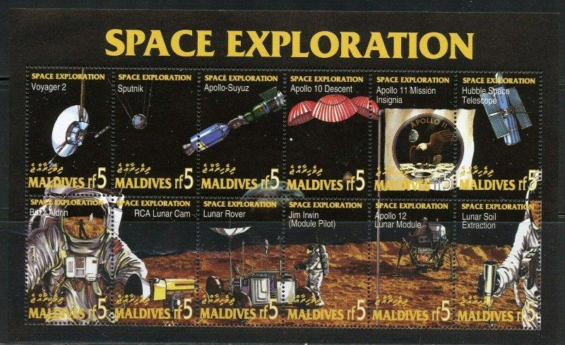 MALDIVES SPACE EXPLORATION APOLLO 11 MOON LANDING  SHEET MINT NH