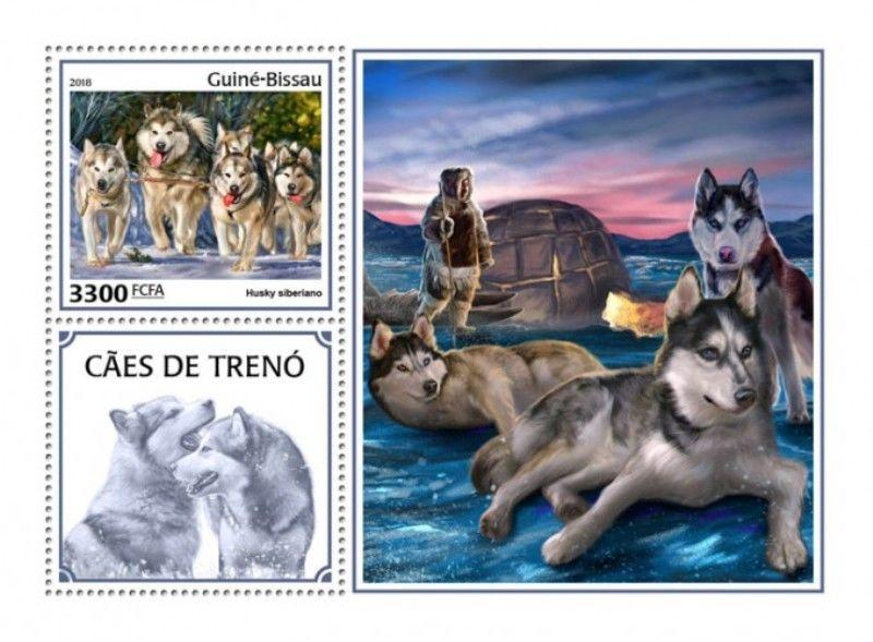Guinea-Bissau - 2018 Sledge Dogs - Stamp Souvenir Sheet - GB18405b