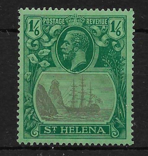 ST.HELENA SG107c 1927 1/6 GREY & GREEN ON GREEN CLEFT ROCK MTD MINT