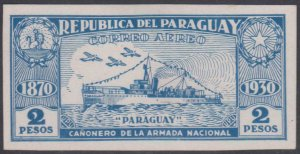 PARAGUAY 1931 GUNBOAT Sc C41 IMPERF PLATE PROOF BLUE ON CHALKY SURFACE CARD