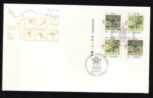 Canada-Sc#1195a-stamps on FDC-LL Plate Block-Sports-Winter Olympics-Calgary-Curl
