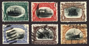 #294-299 1c-10c 1901 Pan American Nice Used Set of 6