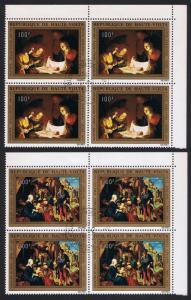 Upper Volta Christmas Religious Paintings 2v Corner Blocks of 4 SG#397-398