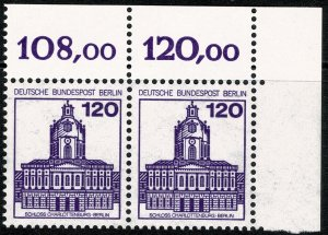 GERMAN BERLIN 1977-87 120pf GERMAN CASTLES C.MARGIN MINT(NH) SGB522c P.14 SUPERB
