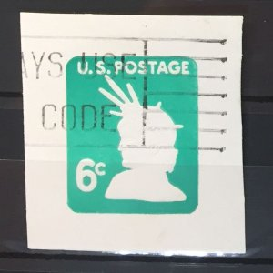 #U551 Used F/VF - 6 cent Envelope cutout - Statue of Liberty