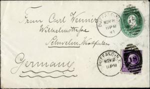 1895 #253 2¢ W/ BUFFALO, NY VF TO GERMANY CVR BM7267