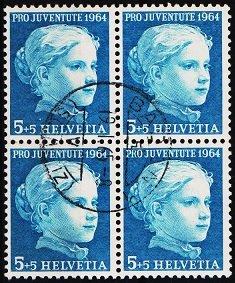 Switzerland. 1964 5c+5c(Block of 4). S.G.J202 Fine Used