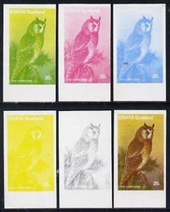 Staffa 1977 Birds of Prey #01 Long-Eared Owl 20p set of 6...