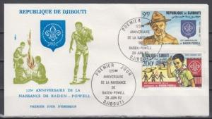 Djibouti, Scott cat. C163-C164. Scout Baden Powell issue. First day cover.