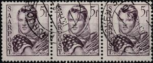 SARRE / SAARLAND - 1948 SAARBRÜCKEN 3 date stamp on strip of 3xMi.245 5fr