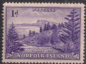 Norfolk Island 1947 KGV1 1d Bright Violet MM SG 2 ( J616 )