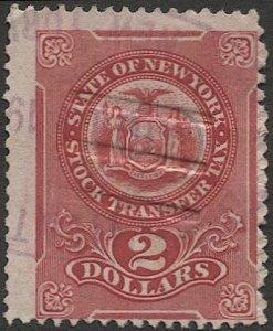 US NY  New York Stock Tranfer, $2 rose Used  F-VF