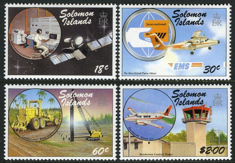 Solomon Islands 602-605,MI 663-6,MNH.Transportation & Communications.Plane,1987