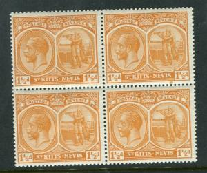 ST.KITTS NEVIS; 1920-22 early GV Crown CA issue Mint hinged 1.5d. Block