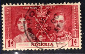 Nigeria 1937 KGV1 1d Red Coronation used SG 46  ( A698 )