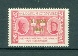 Sweden. Poster Stamp MNG. 1907 National Day June 6. Overprint.  First issue