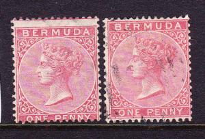BERMUDA 1865-03  1d RED QV  M&U  SG 1