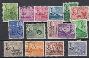Mauritius KGVI 1950 Set To 10 Rupees SG276/290 VFU  JK5602