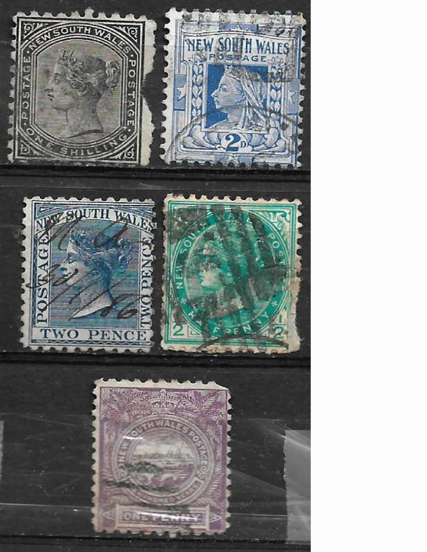 COLLECTION LOT OF 8 NEW SOUTH WALES STAMPS CLEARANCE AS IS 2 SCAN