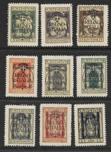 Fiume Scott 184-192 Mint short set overprinted stamps 2015 CV $21.60