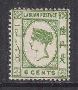 LABUAN, 1892 Recess Printed, 6c. Bright Green, lhm.
