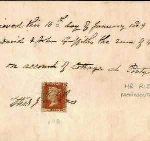 GB WALES *Pontywain* 1d RED USED AS REVENUE 1868 Receipt {samwells-covers}671h