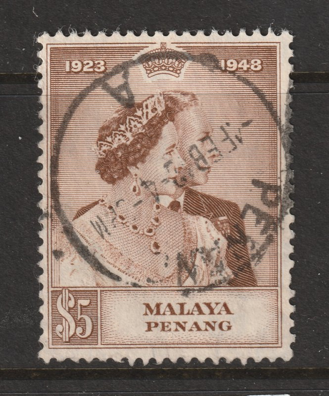 Penang the 1948 Silver Wedding $5 used