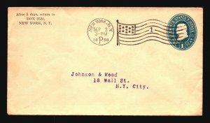 US 1898 Stationery Cover w/ NY Flag Machine Cancel - Z18642