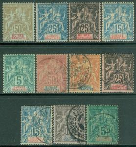 FRENCH GUINEA : All VF Mint OG or Used collection of 11 Peace & Commerce Issues.