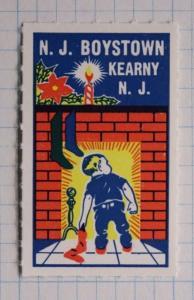 Boystown Kearny NJ Fireplace Stockings Child Christmas Charity stamp seal MNH