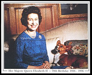 Uganda 1413, MNH, 70th Birthday of Queen Elizabeth II souvenir sheet