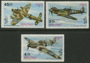BHUTAN Sc#88-88c 1967 Battle of Britain WWII Cpl w/ Perf & Imperf S/S OG MNH
