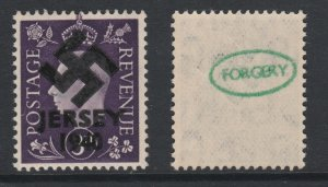 Jersey 1940 Swastika opt on Great Britain KG6 3d violet