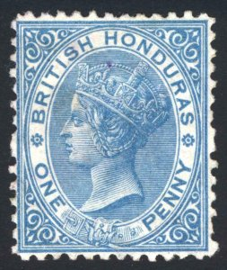 British Honduras 1874 1d Dp Blue WMK CC P12.5 SG 6 Scott 4 MM/MH Cat £110($135)