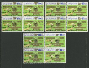 STAMP STATION PERTH Philippines #1758-1760 Scout Surcharge Gold MNH Block of 4