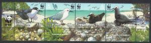 Pitcairn WWF Seabirds Short Bottom Strip of 4v WWF Logo SG#724-727 MI#717-720