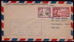 JAMAICA 1950 first flight cover BOAC Kingston to London....................32684