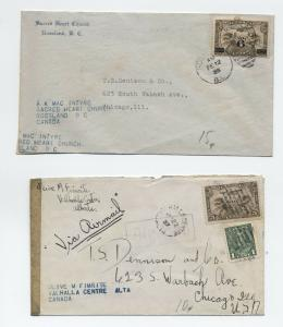 1935 and 1937 Canada airmail covers to USA [y3364]
