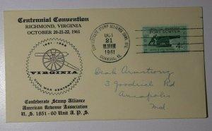 Centennial Conv Confederate Stamp Alliance Richmond VA 1961 Philatellic Expo