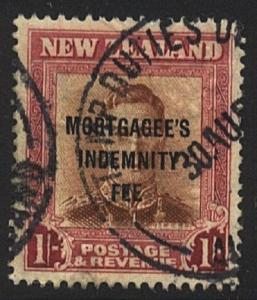 NEW ZEALAND Revenue MORTGAGEE'S INDEMNITY FEE GVI 1/- used................22654