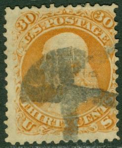 EDW1949SELL : USA 1868 Scott #100 Used. Small thin. Interesting cancel. Cat $950