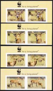 Tajikistan WWF Bactrian Deer 4v Top Imperforated Pairs WWF Logo MI#527-530B