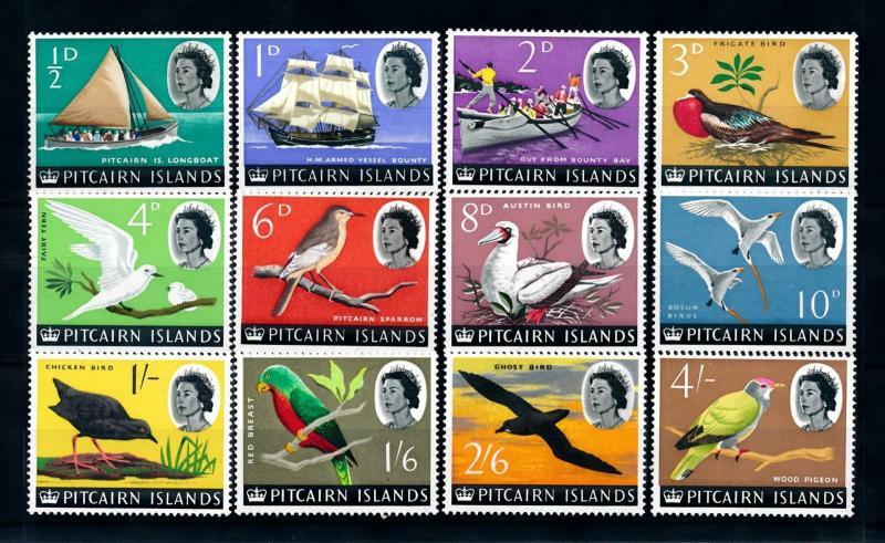 [97033] Pitcairn Islands 1964 Birds Vögel Oiseaux 12 Values MNH
