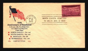 US SC# 858 FDC / Flag Cachet / Single / Bismark CDS - Z20236
