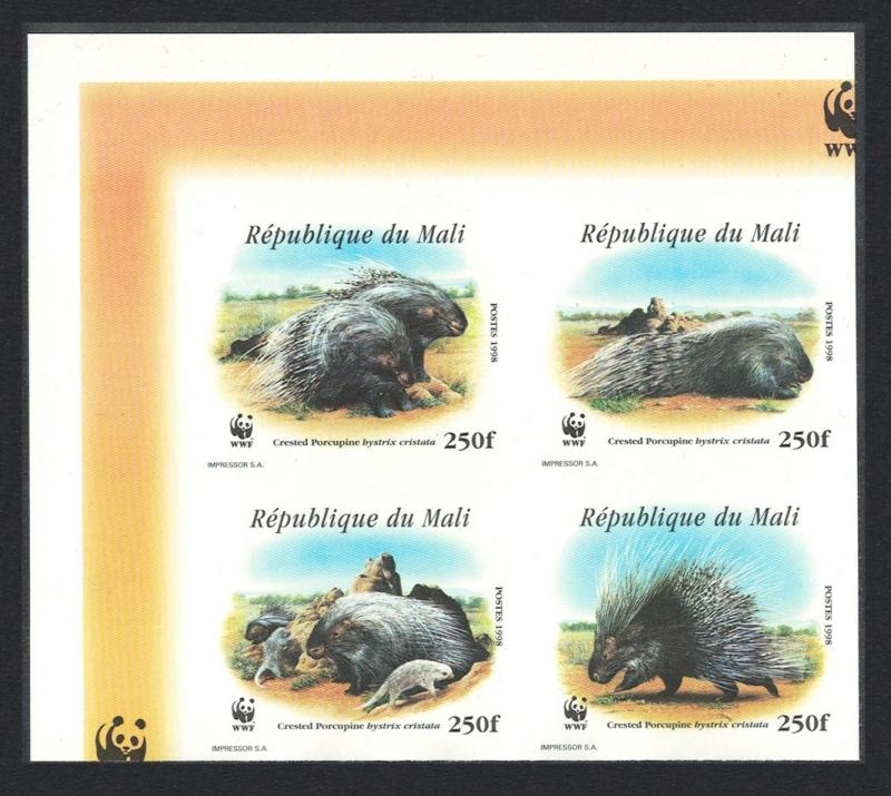 Mali WWF Crested Porcupine Top Left Imperf Block of 4 SC#918 a-d MI#1974-1977