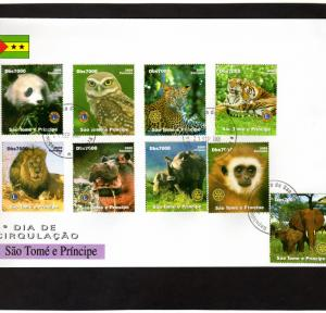 Sao Tome and Principe 2005 Animals/Panda/Tigers/Owl Set(9) Perforated FDC