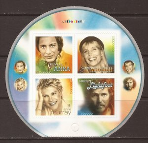 2007 Canada - Sc 2222iii - MNH VF - Booklet Pane - Canadian Recording Artists