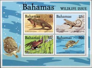 Bahamas #567a Reptiles of Bahamas Souveneir Sheet of 4 MNH